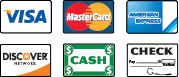 We Accepted Visa, MasterCard, American Express, Discover, Cash, and Checks
